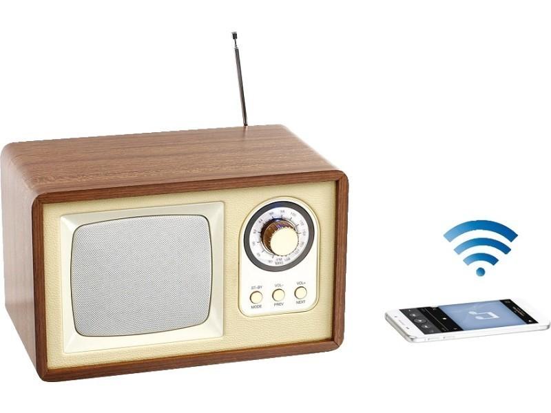 enceinte radio r tro compatible bluetooth avec caisson en. Black Bedroom Furniture Sets. Home Design Ideas