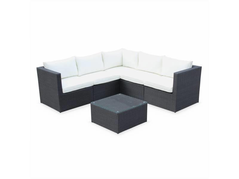 Salon de jardin résine tressée - siena - coloris noir. Coussins écrus. Structure aluminium. Canapé d'angle d'extérieur. 5 places