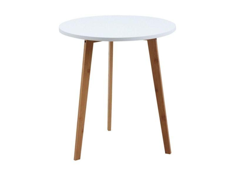 Table d'appoint ronde en bois et mdf laqué blanc
