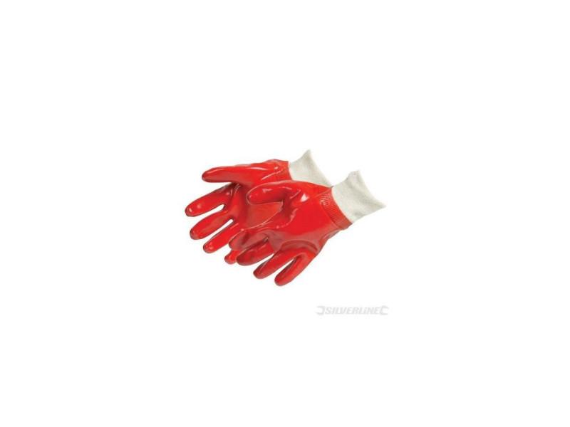Silverline - gants tricot pvc rouges