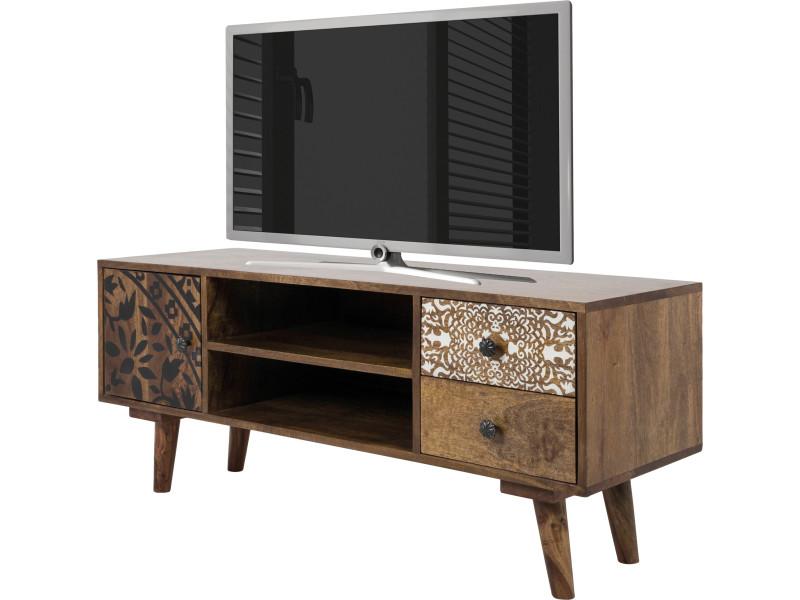 meuble tv scandinave 117 cm en bois de manguier massif coloris marron