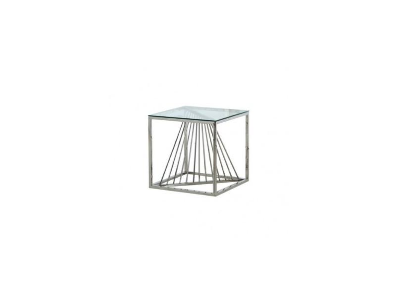 Table d'appoint plateau verre et chrome scala