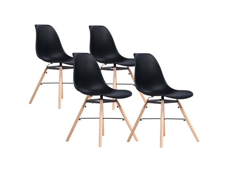 Chaises x4 design scandinave noires pieds bois vente de for Chaises scandinaves noires
