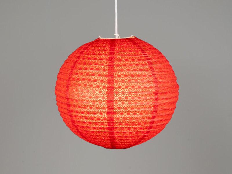 suspension boule japonaise en papier ajour rouge conforama. Black Bedroom Furniture Sets. Home Design Ideas