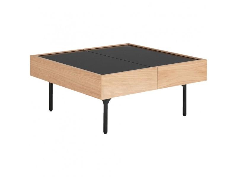 Table basse placage chêne et plateau coulissant en verre - gou 7882