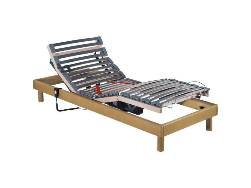 sommier relaxation lectrique lattes 1 personne conforteo bois massif miel 90x190cm s. Black Bedroom Furniture Sets. Home Design Ideas
