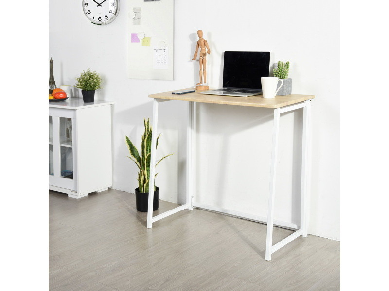 Bureau pliant chêne bois métal blanc