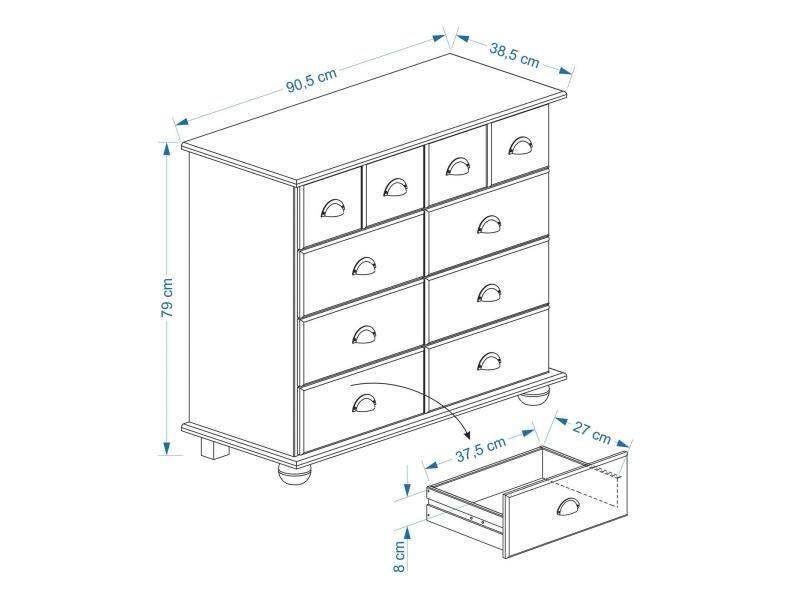 Commode colmar chiffonnier apothicaire rangement avec 8 tiroirs en pin massif finition teint e - Commode apothicaire conforama ...