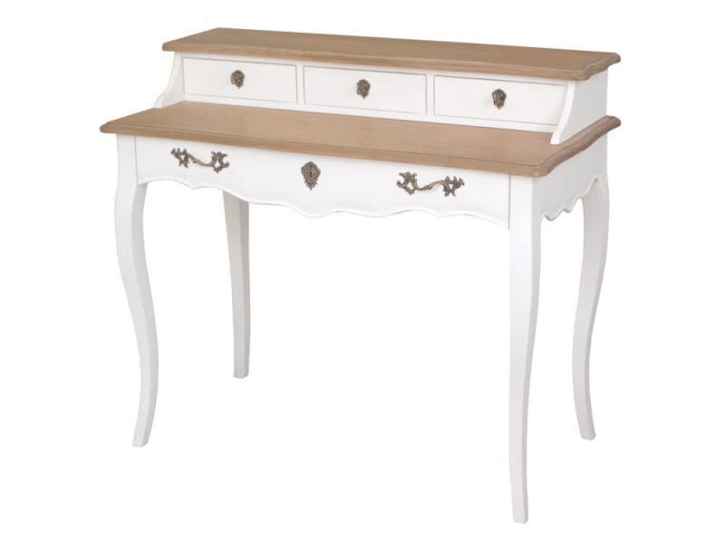 Bureau en bois blanc avec tiroirs plateau pauline vente de