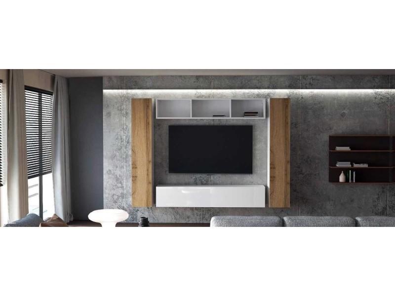Ensemble de 4 meubles suspendus blanc mat/ blanc laqué + chêne wotan