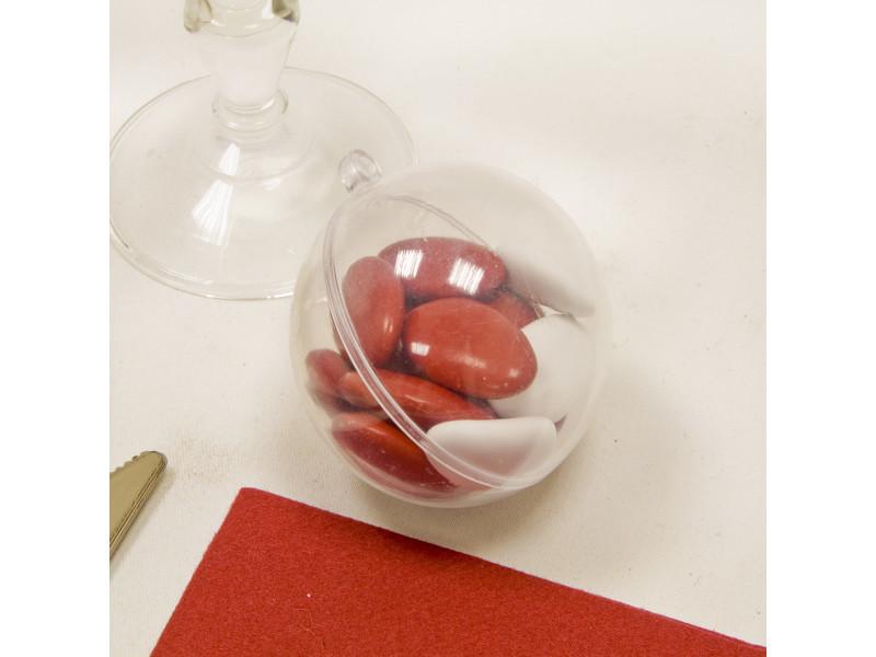 Lot de 20 boules transparentes en plastique - dim : 6 cm