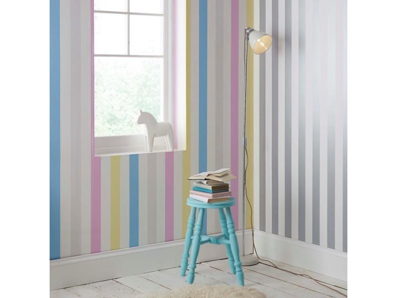 Papier peint intissé rayures 1005 x 52cm gris, blanc 100100