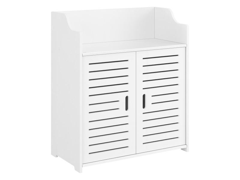Meuble de salle de bain stylé avec étagères meuble de rangement à 2 portes bois composite 72 x 60 x 32 cm blanc [en.casa]