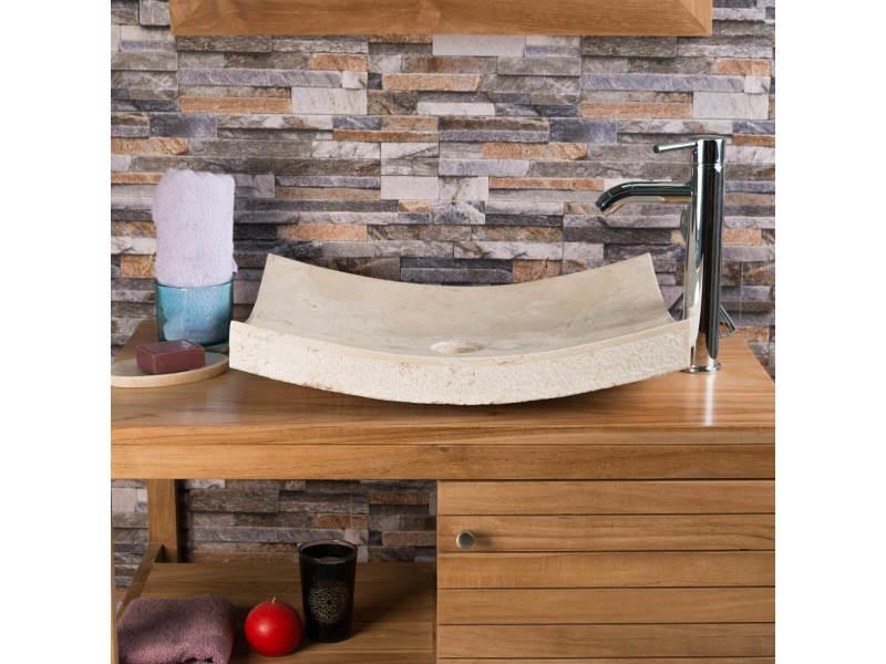 Vasque à poser rectangle 50cm en pierre marbre genes crème 32013