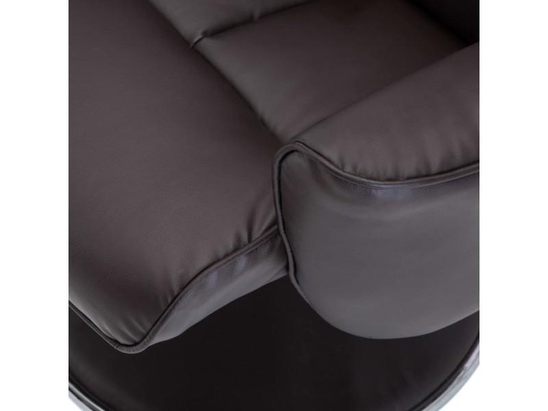 Icaverne - fauteuils club, fauteuils inclinables et chauffeuses lits gamme fauteuil réglable avec repose-pied simili-cuir marron