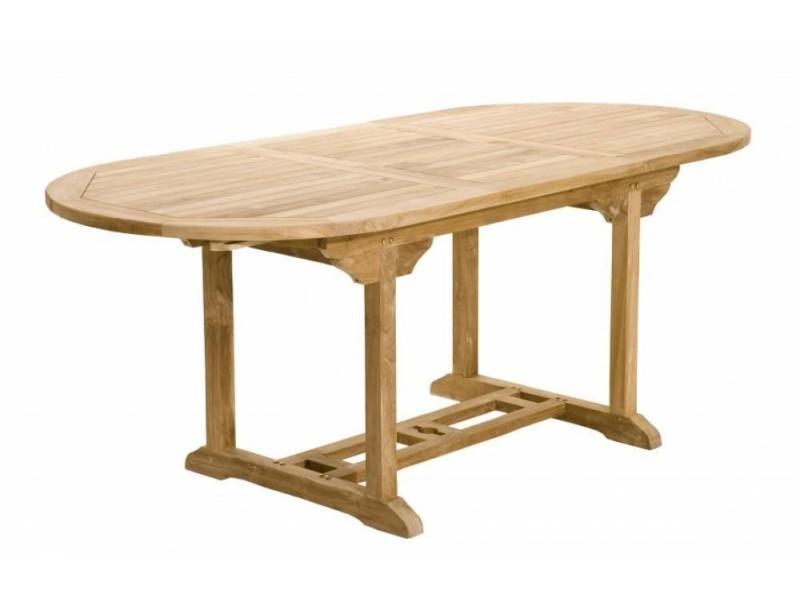 Table repas extensible de jardin ovale fun 180*240 cm en teck 20100852769
