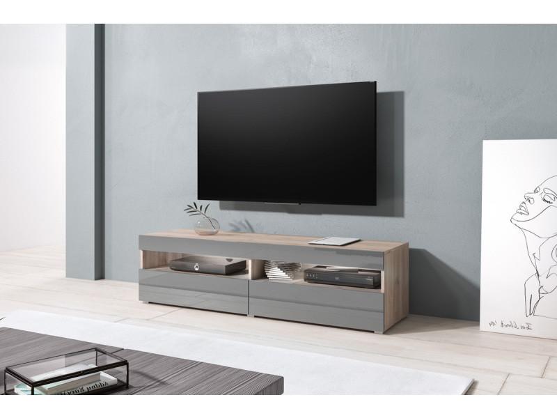 Meuble Tv Kubrick 140 Cm San Remo Gris Brillant Design