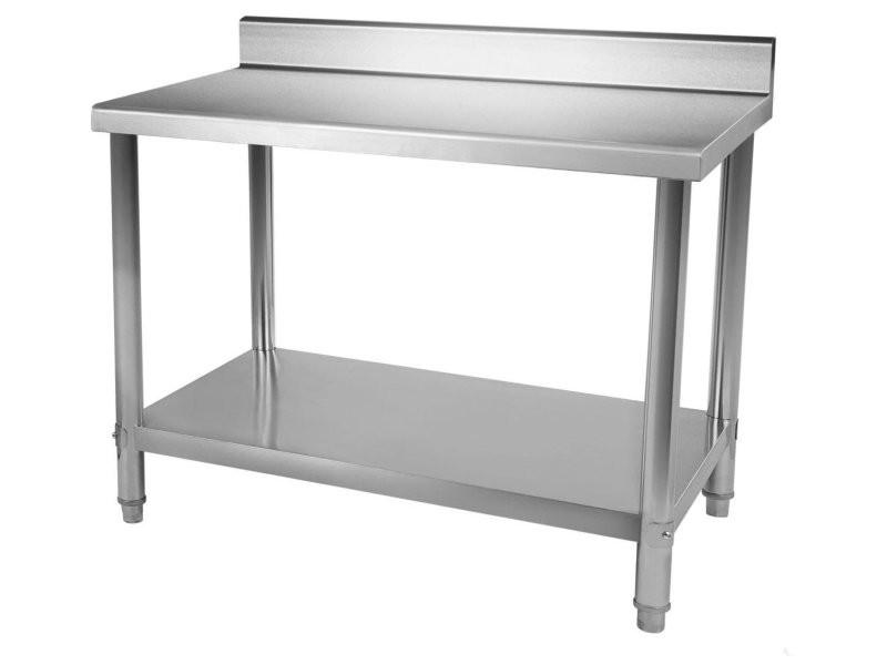 Table de travail professionnelle acier inox pieds ajustable avec rebord 100 x 60 cm helloshop26 3614079/2