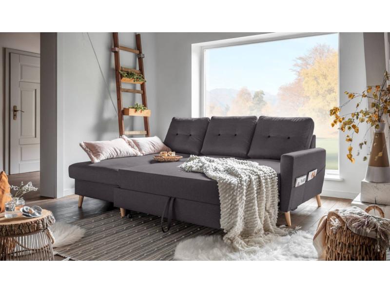 oslo canap d 39 angle gauche convertible gris fonc 225x147x86cm vente de bobochic. Black Bedroom Furniture Sets. Home Design Ideas