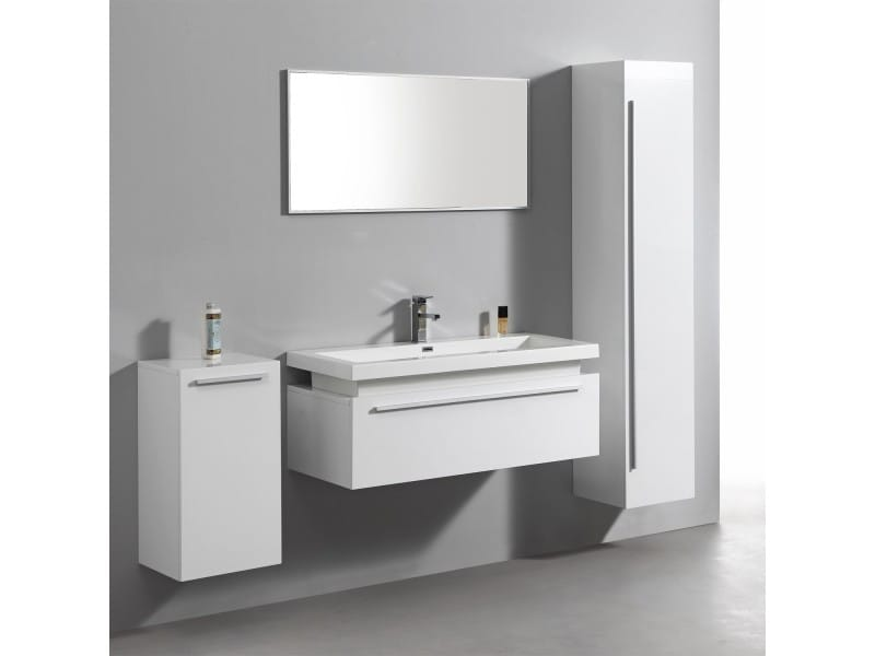 ensemble complet meuble de salle de bain rio 1 vasque 1 miroir blanc conforama. Black Bedroom Furniture Sets. Home Design Ideas