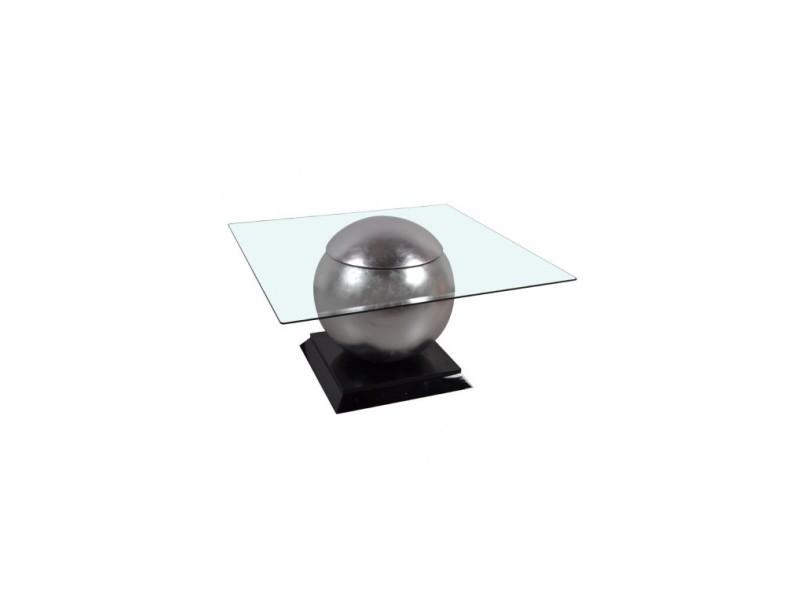 Table basse design verre et acier chromé world