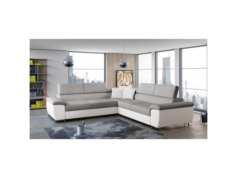 Canapé d'angle convertible cotire gris et blanc