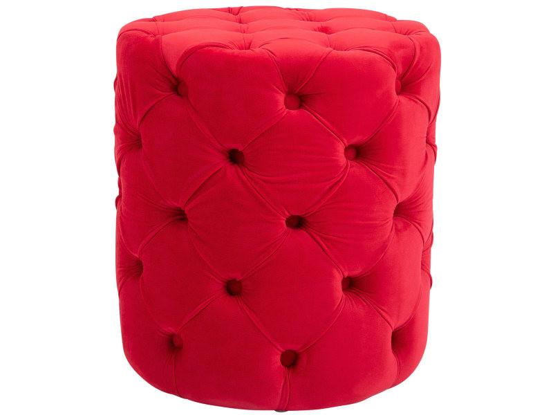 Tabouret bas pouf style chesterfield drancy en velours , rouge/m