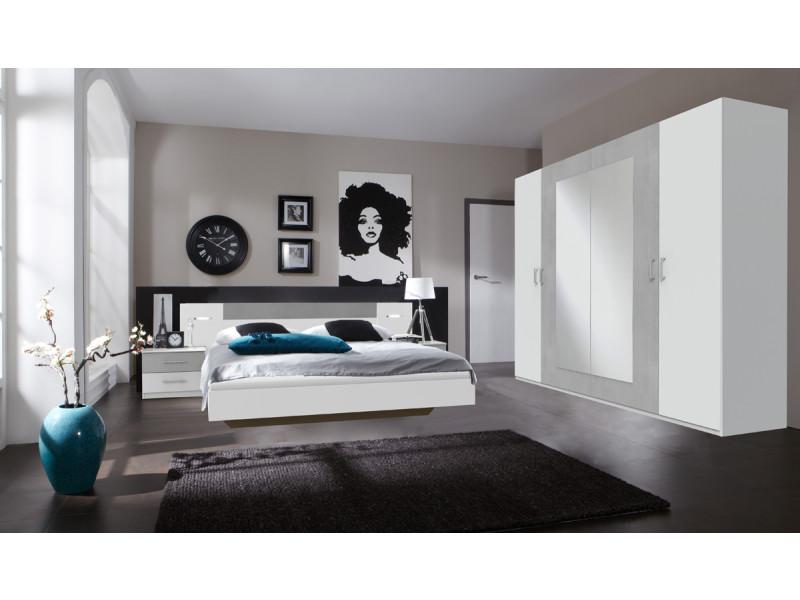 Ensemble chambre adulte en blanc, rechampis teinte béton gris clair - 10 x  10 cm -pegane-