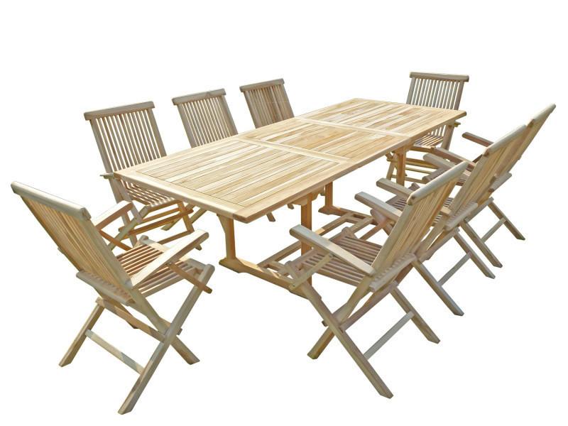Ensemble de salon jardin en teck amara 8 fauteuils pliants - Vente ...