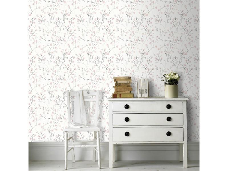 Papier peint intissé lenny 1000 x 53cm rose, blanc 101806