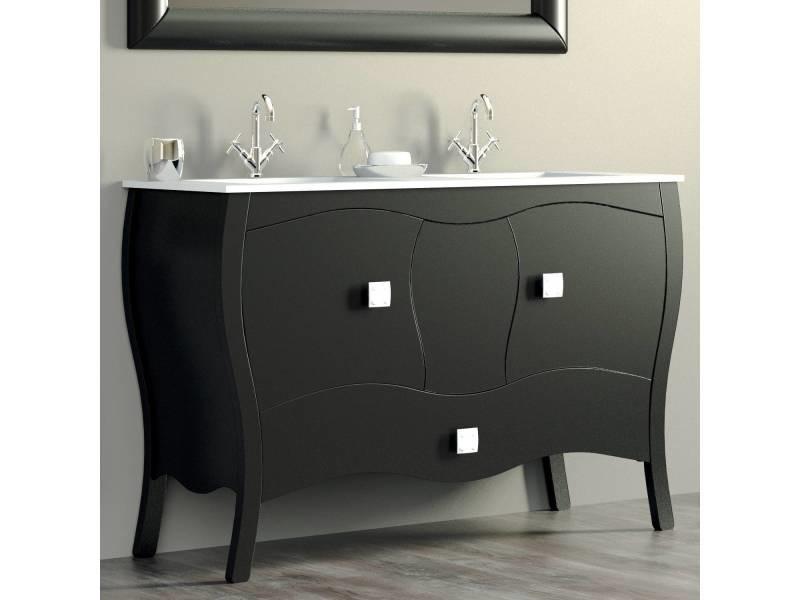 Meuble 120 Cm Noir 2 Portes 1 Tiroir Double Vasque Céramique