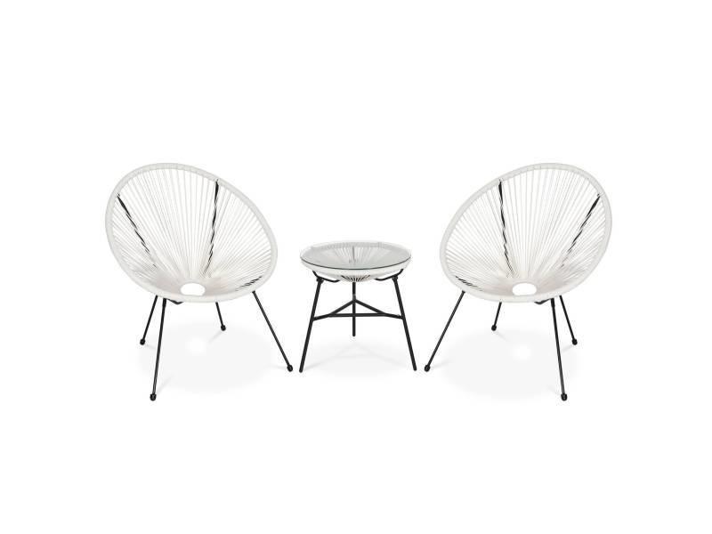 Lot de 2 fauteuils acapulco forme d'oeuf avec table d'appoint - blanc - fauteuils 4 pieds design rétro. Avec table basse. Cordage plastique. Intérieur / extérieur
