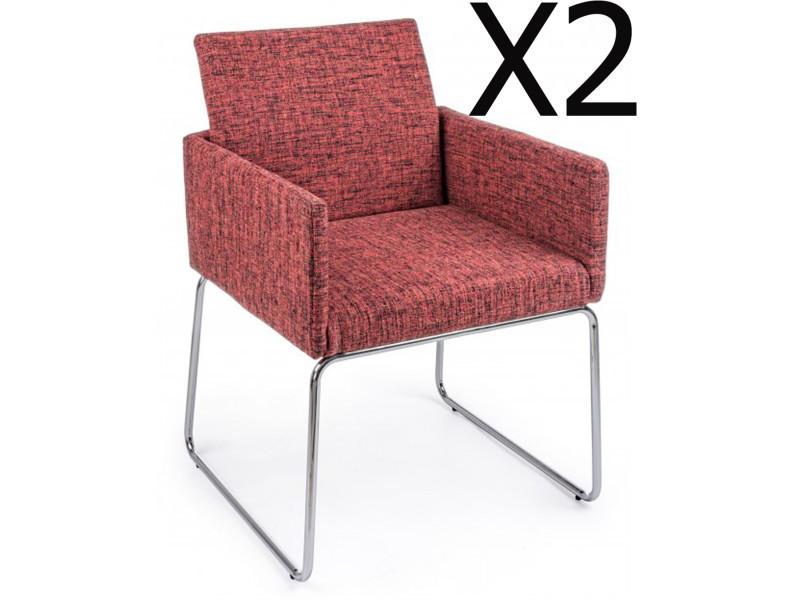 Lot de 2 fauteuils en fer et contreplaqué coloris rouge - dim : l 60 x p 54 x h 80,5 cm -pegane-