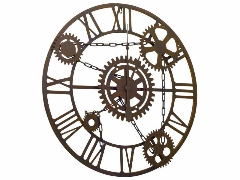Horloge murale noir 80 cm métal dec022227