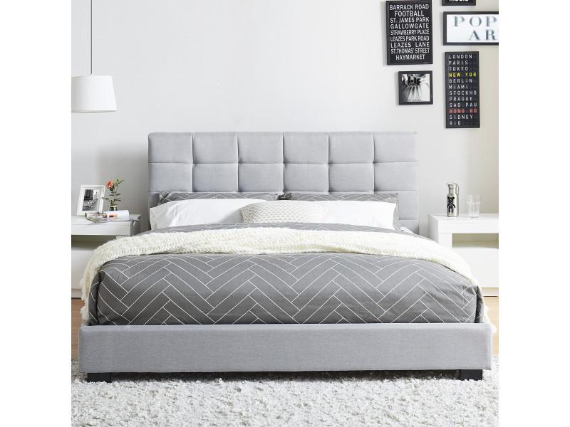 lit adulte avec t te de lit capitonn e en tissu gris clair sommier latte 140x190. Black Bedroom Furniture Sets. Home Design Ideas