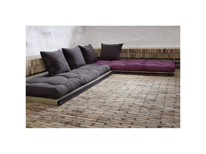 banquette convertible tatami chico matelas futon grey graphite violet couchage 2 x 70 200cm. Black Bedroom Furniture Sets. Home Design Ideas