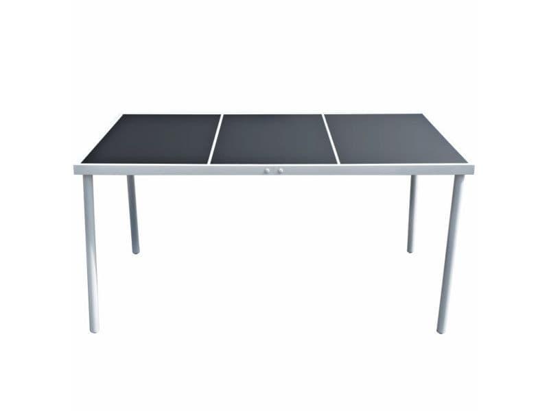 Icaverne - tables d'extérieur ligne table de salle à manger d'extérieur 150 x 90 x 74 cm noir