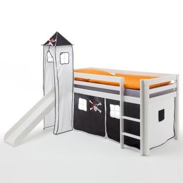 lit sur lev blanc max donjon rideaux pirate vente de idimex conforama. Black Bedroom Furniture Sets. Home Design Ideas