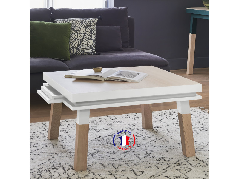 Table basse carrée 100% frêne massif 90x90 cm blanc balisson - 100% fabrication française