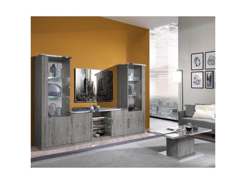 Naktam - ensemble salon aspect chêne gris laqué