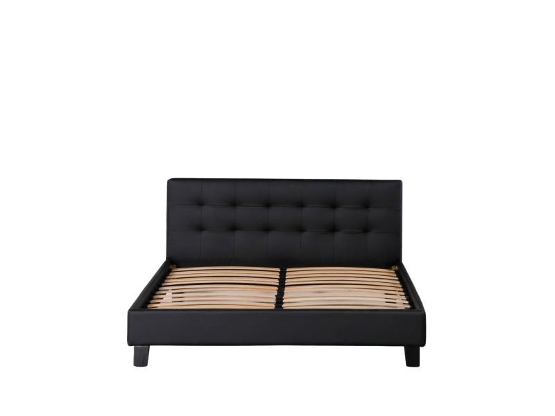 Frederic - solide et confortable lit avec sommier + tête de lit capitonnee couleur noir + pieds en 10 cm pour matelas en 140x190 - 2 x 13 lattes - revetement pvc simili facile d'entretien - montage rapide et facile