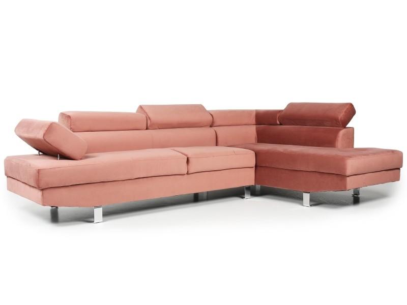 Canapé d angle avec têtières relevables alfa velours rose - Conforama 3194e5c1750e