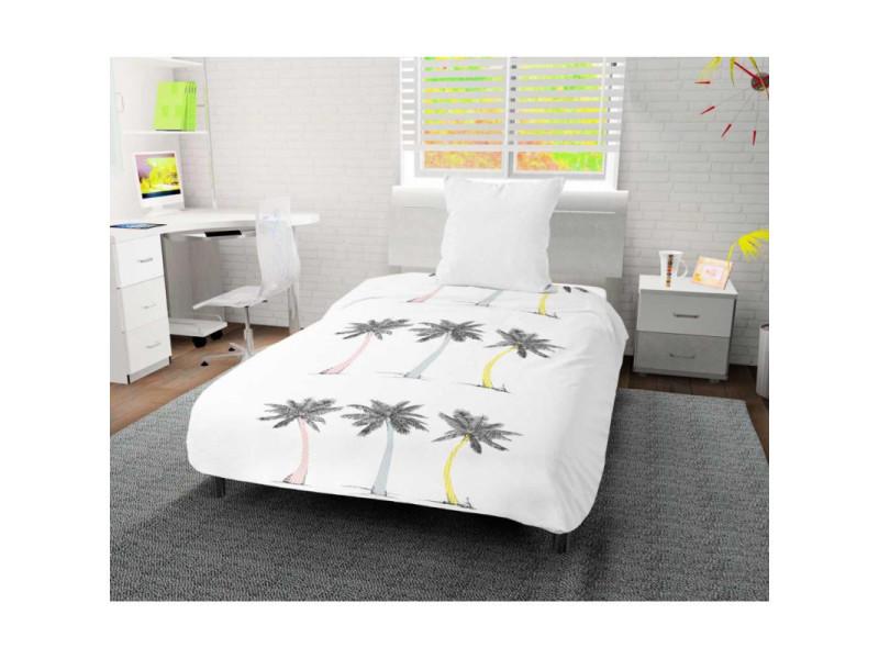 Couette imprimée 140x200 cm palmier blanc