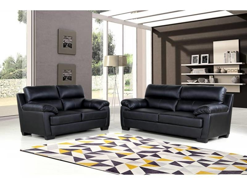 canap cuir pvc cardiff 3 places noir vente de habitat et jardin conforama. Black Bedroom Furniture Sets. Home Design Ideas