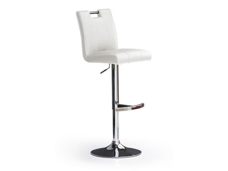 Tabouret de bar en pu socle rond en métal brossé, rotation 360° coloris blanc - dim : h 95-116 x 41 x 52 cm -pegane-