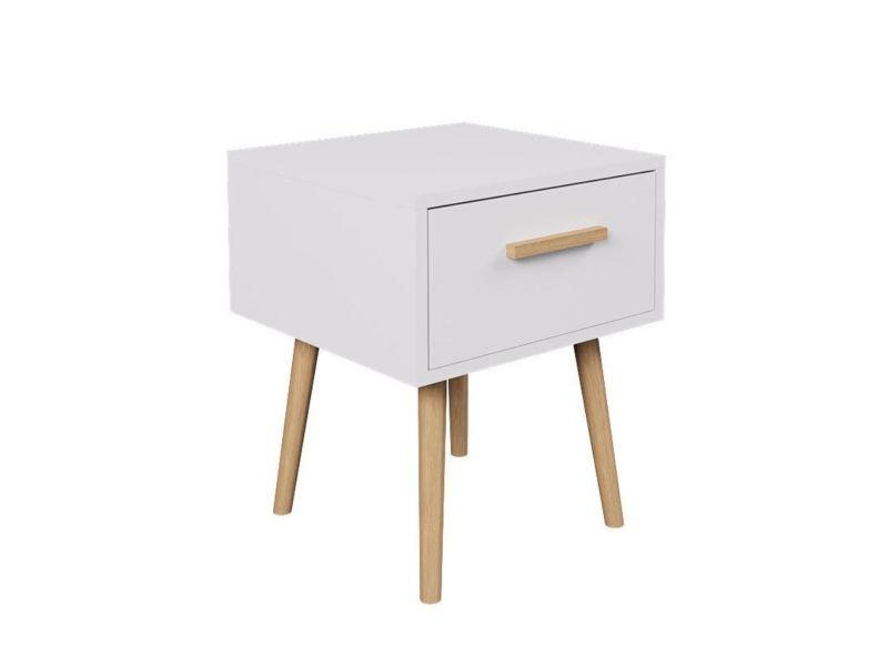 Table de chevet design scandinave edwing - l. 40 x h. 50 cm - blanc et bois