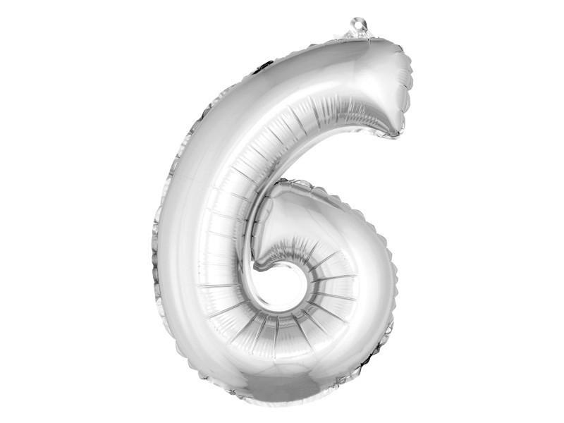 Lot de 12 ballons unis métallisés en aluminium argent chiffre 6 - h 36 cm
