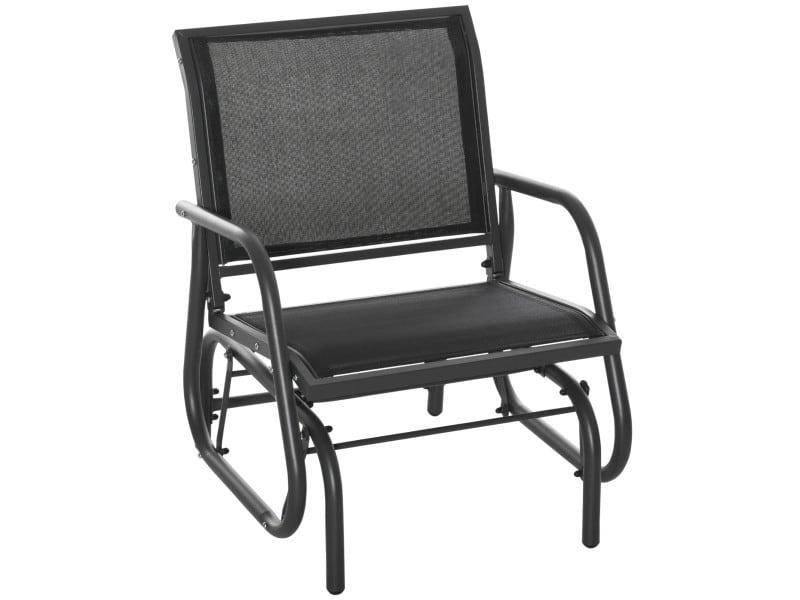 Fauteuil à bascule de jardin rocking chair design contemporain acier textilène noir
