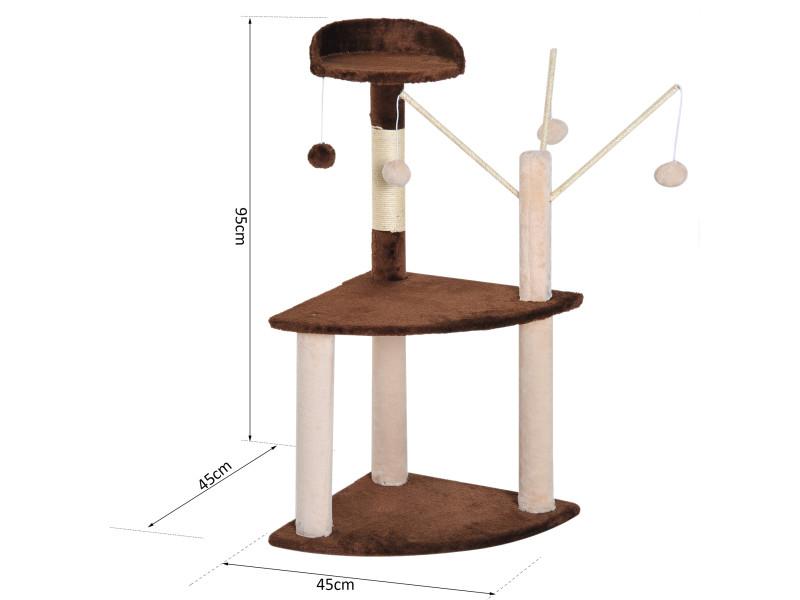 daee1ced821 Arbre à chats avec griffoir-grattoir sisal naturel plate-formes jeu de 4  boules suspendues 45l x 45l x 95h cm marron beige