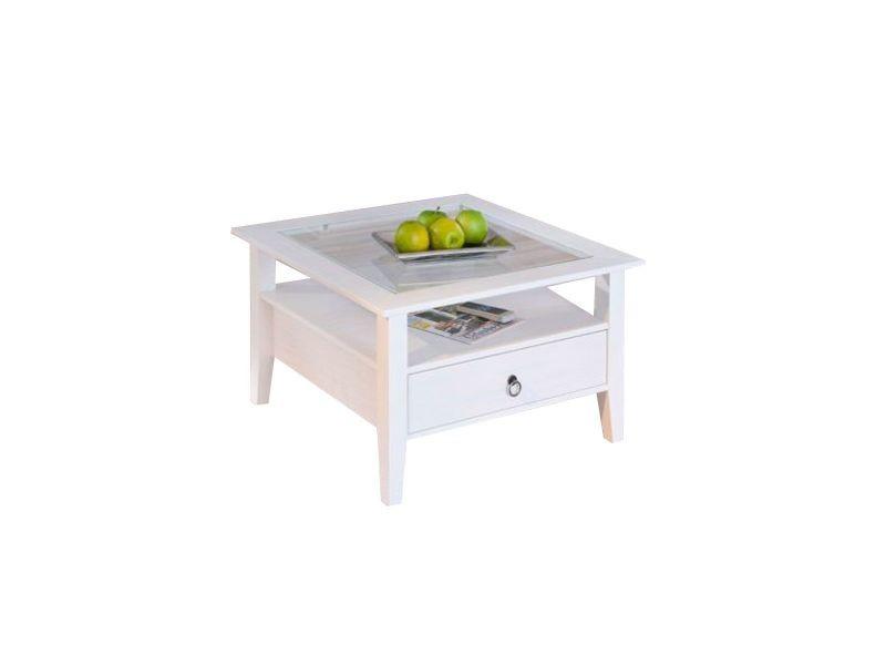 Table basse design blanche pin massif cambridge